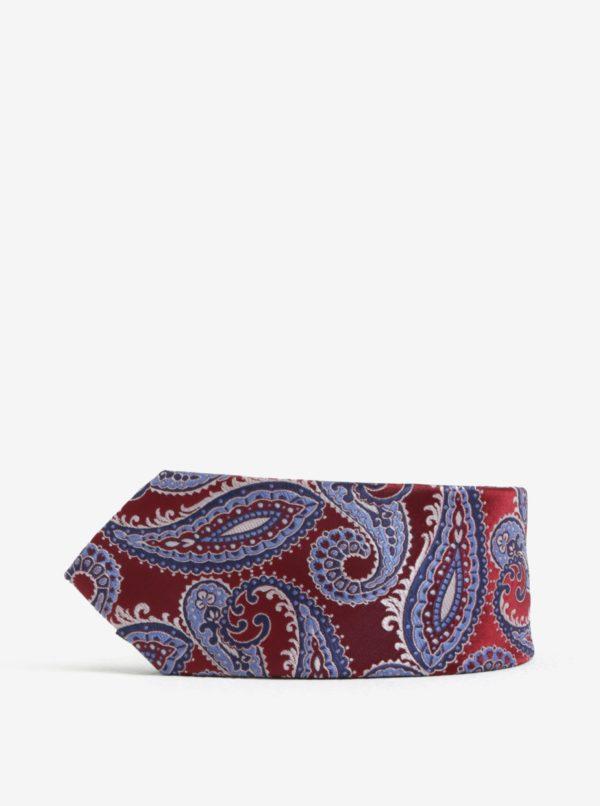 Vínová kravata s kašmírovým vzorom Burton Menswear London