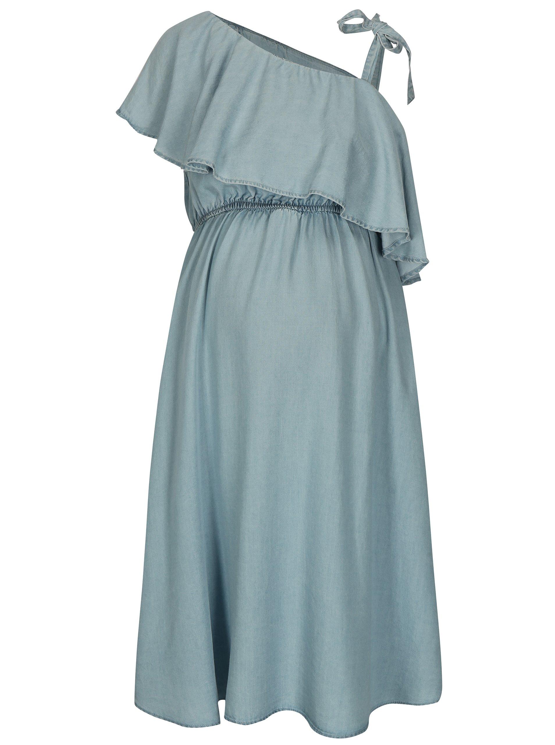 35ff329c937d Svetlomodré rifľové tehotenské šaty s volánom Mama.licious Nesli ...