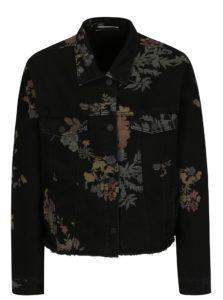 Čierna kvetovaná rifľová bunda Noisy May Cho