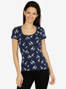 Tmavomodré dámske vzorované tričko M&Co