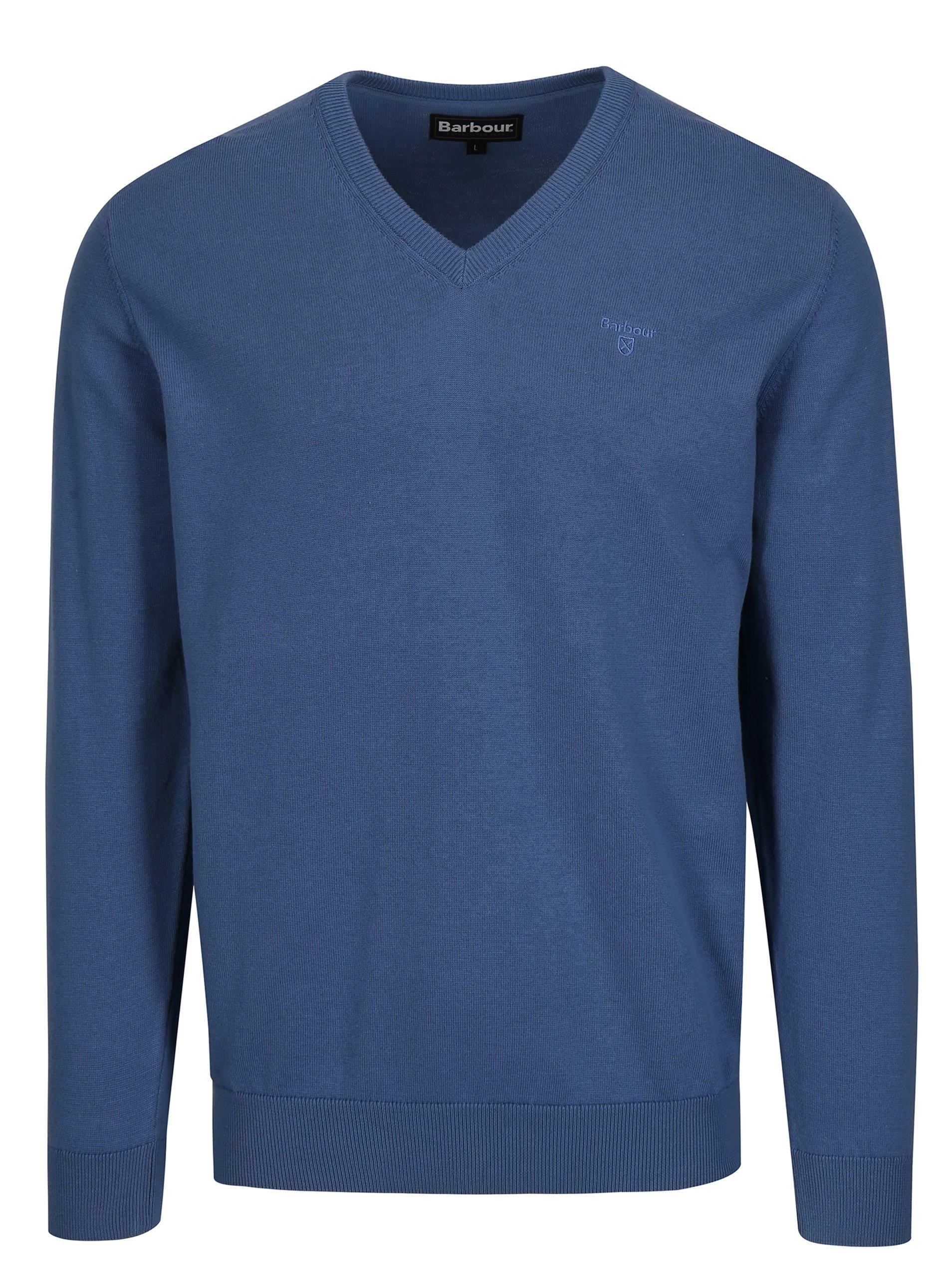 92f3e2c464e0 Modrý sveter s véčkovým výstrihom a výšivkou Barbour Pima