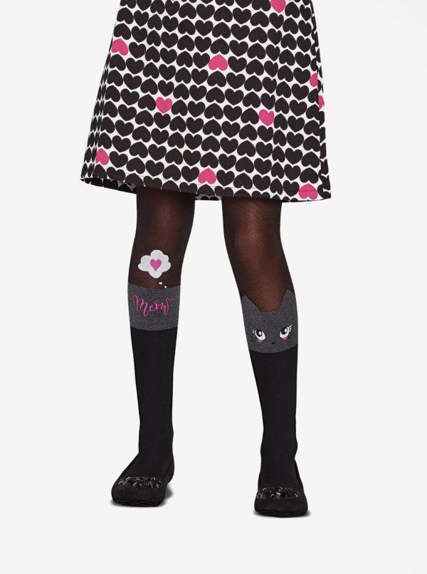 Čierne dievčenské pančuchy s motívom mačky Penti Pretty Catty 30 DEN