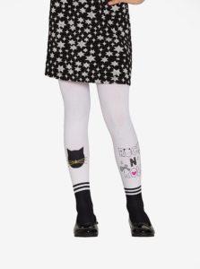 Čierno-biele dievčenské pančuchy s motívom mačky Penti Pretty Cat Rocks 70 DEN