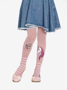 Ružové dievčenské bodkované pančuchy s motívom jednorožca Penti Pretty Unicorn 30 DEN