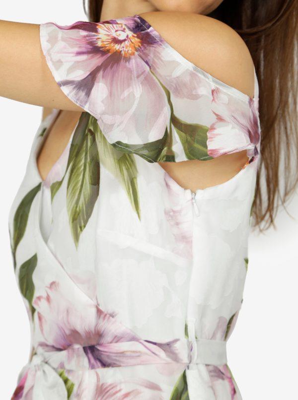 d128ae9b7630 Krémové kvetované šaty s odhalenými ramenami M Co