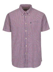 Modro-červená kockovaná tailored fit košeľa Barbour Newton