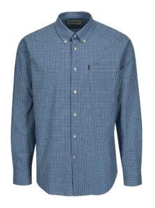 Modrá kockovaná tailored fit košeľa Barbour Leonard