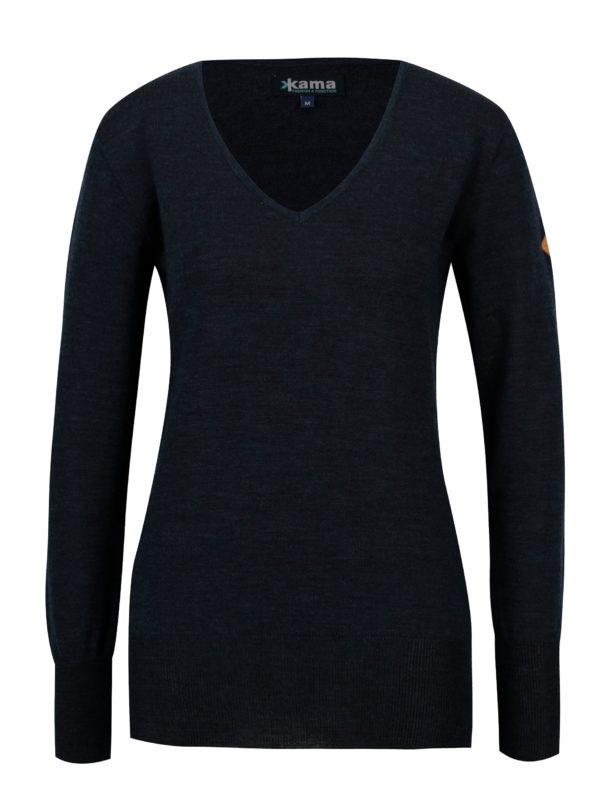 Tmavomodrý dámsky sveter z Merino vlny Kama