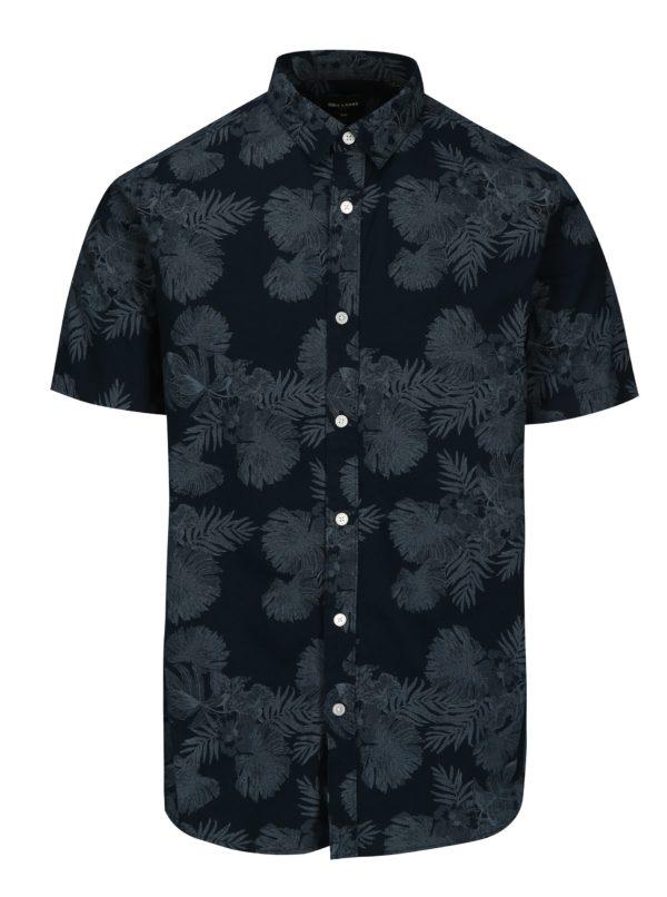 Tmavomodrá slim fit vzorovaná košeľa s krátkym rukávom ONLY & SONS Nelson