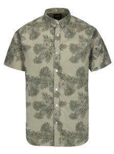Svetlozelená vzorovaná slim fit košeľa s krátkym rukávom ONLY & SONS Nelson
