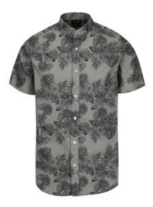Sivá vzorovaná slim fit košeľa s krátkym rukávom ONLY & SONS Nelson