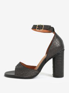 Čierne kožené sandáliky s hadím vzorom Selected Femme You