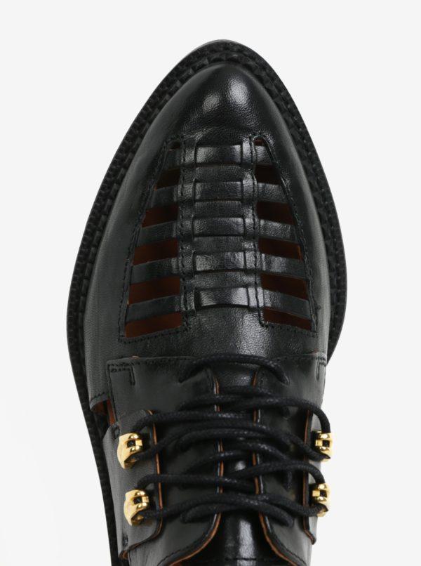 Čierne kožené poltopánky Selected Femme Mari