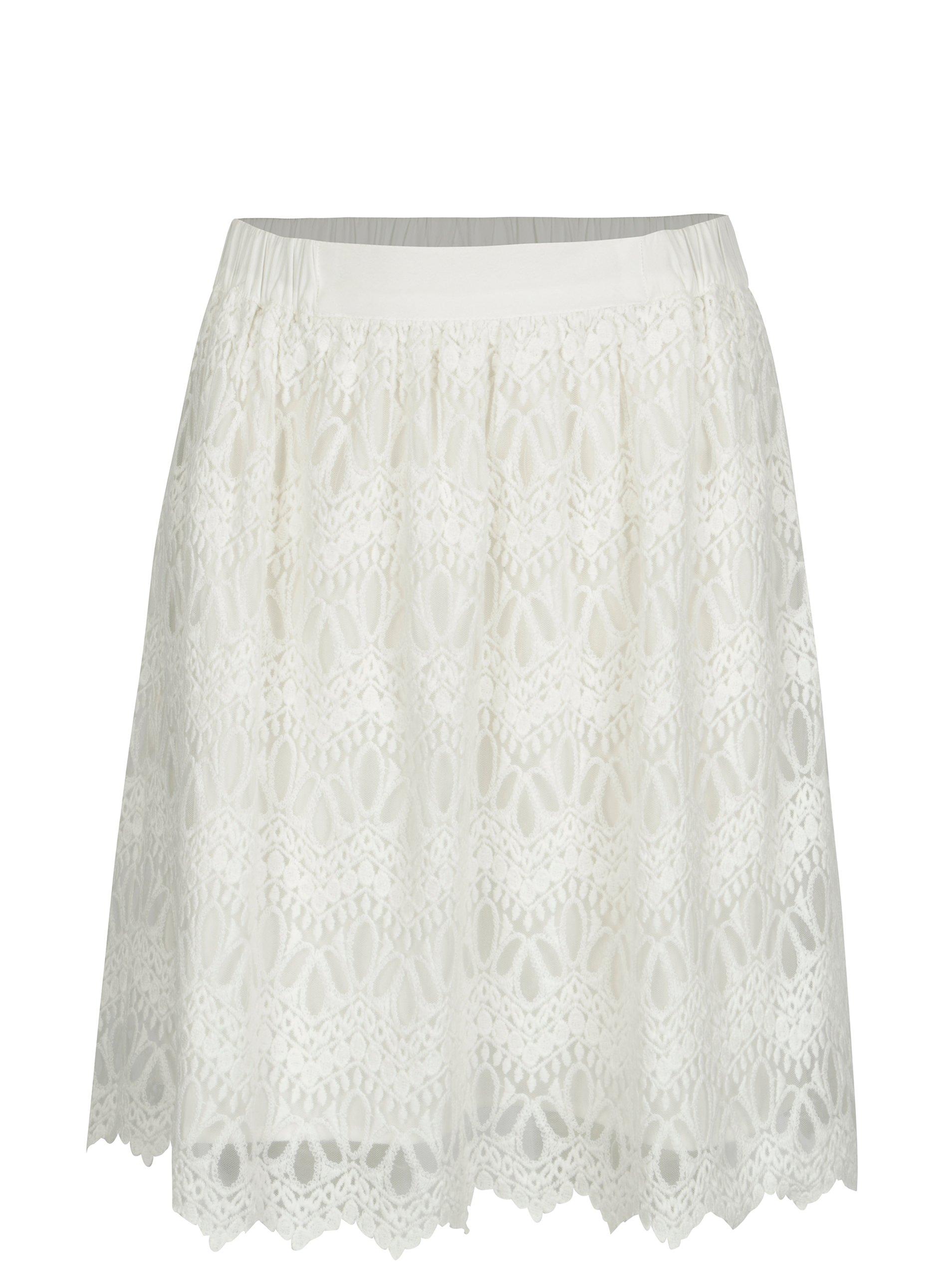 c6ea0be907bf Krémová čipkovaná sukňa VILA Winstock