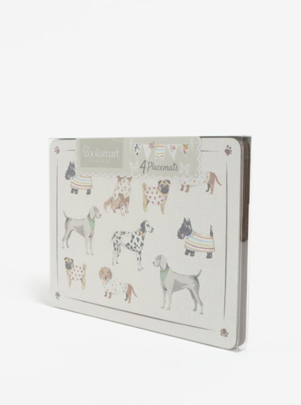 Súprava štyroch prestieraní v krémovej farbe s motívom psov Cooksmart