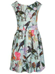 Svetlozelené kvetované šaty s motívom vtáčikov Smashed Lemon