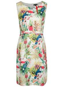 Krémové šaty s tropickým vzorom Smashed Lemon
