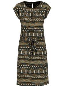 Béžové vzorované šaty s opaskom Smashed Lemon