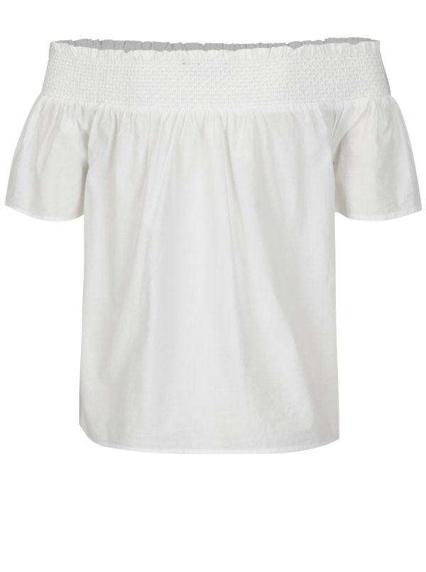 Biela blúzka s odhalenými ramenami a výšivkou Dorothy Perkins