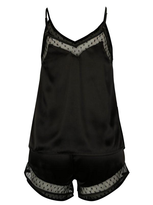 Čierne dvojdielne lesklé pyžamo Dorothy Perkins