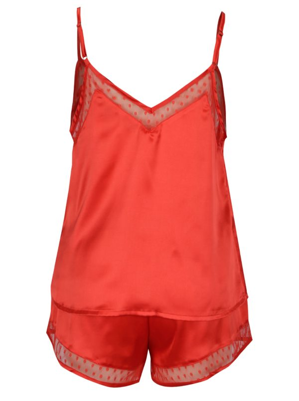 Červené dvojdielne lesklé pyžamo Dorothy Perkins