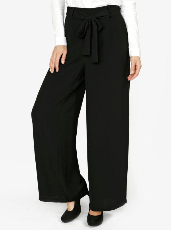Čierne culottes nohavice s vysokým pásom VERO MODA Mita