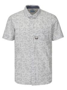 Sivo-biela pánska vzorovaná slim fit košeľa s.Oliver