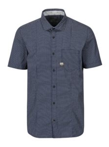 Modrá pánska vzorovaná slim fit košeľa s.Oliver