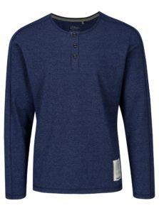 Modré pánske slim fit tričko s dlhým rukávom s.Oliver