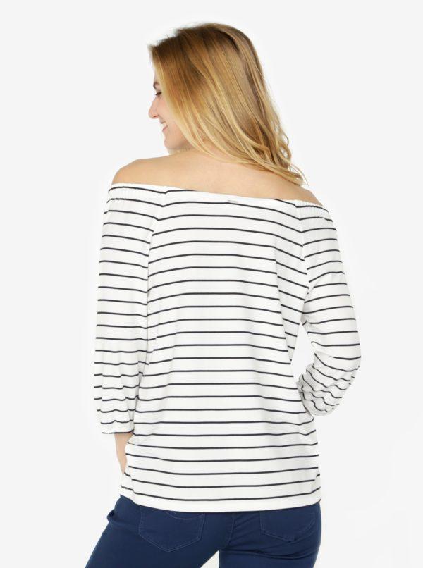 Biele dámske pruhované tričko s odhalenými ramenami s.Oliver