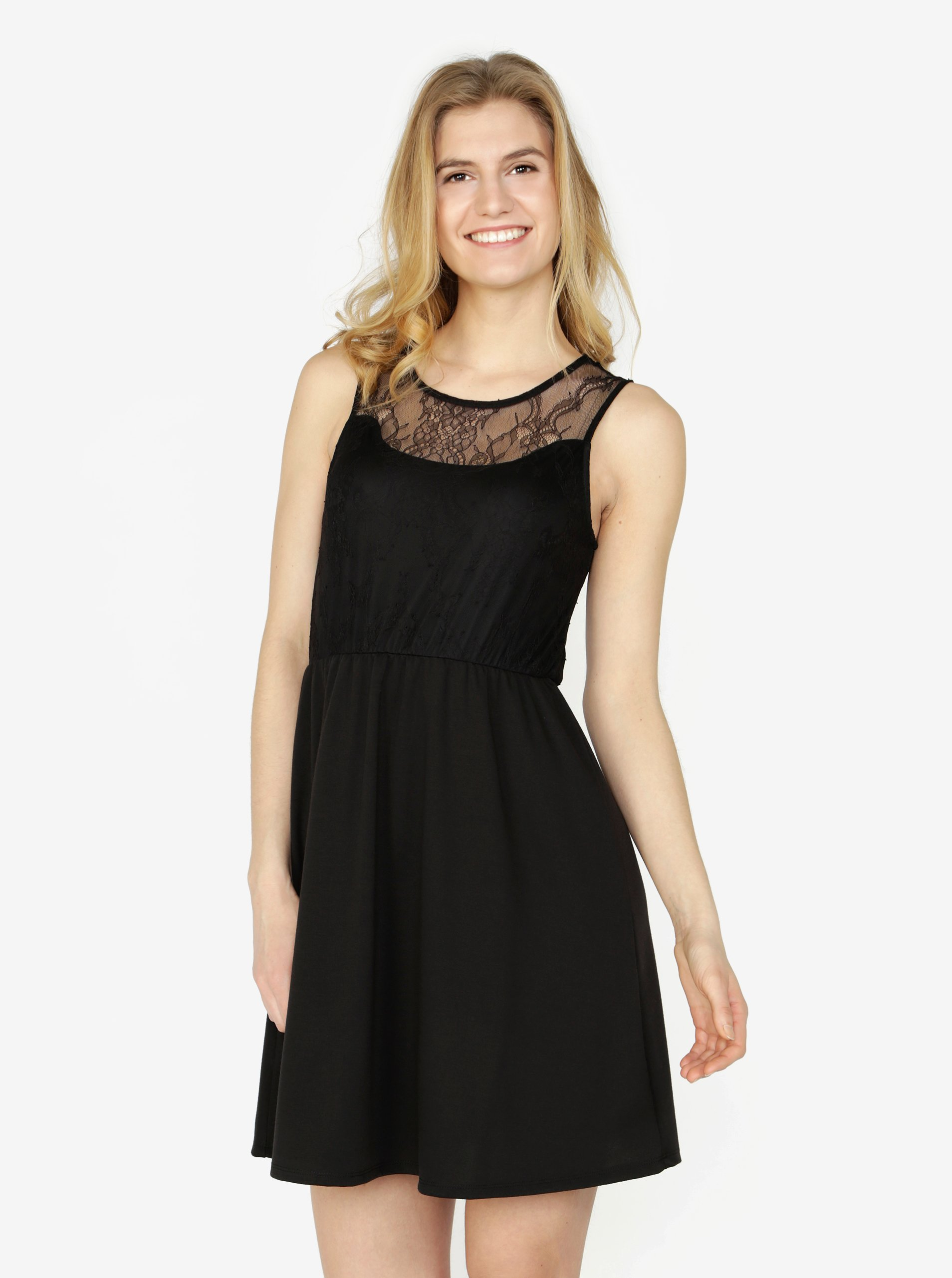 Čierne šaty s čipkou VERO MODA Daga  5d26225b426