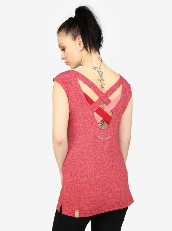 Červené melírované dámske tričko s páskami na chrbte Ragwear Sofia