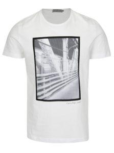 Biele pánske slim fit tričko s potlačou Calvin Klein Jeans Teage