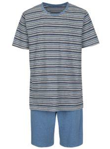 Modré pánske pruhované pyžamo M&Co