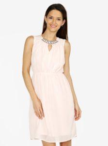 Svetloružové šaty s korálkovou výšivkou VERO MODA Wam bd9369ba330