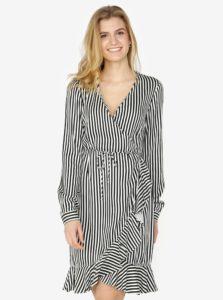 Čierno-biele pruhované zavinovacie šaty s volánom VERO MODA Lizette dbd110a09f6