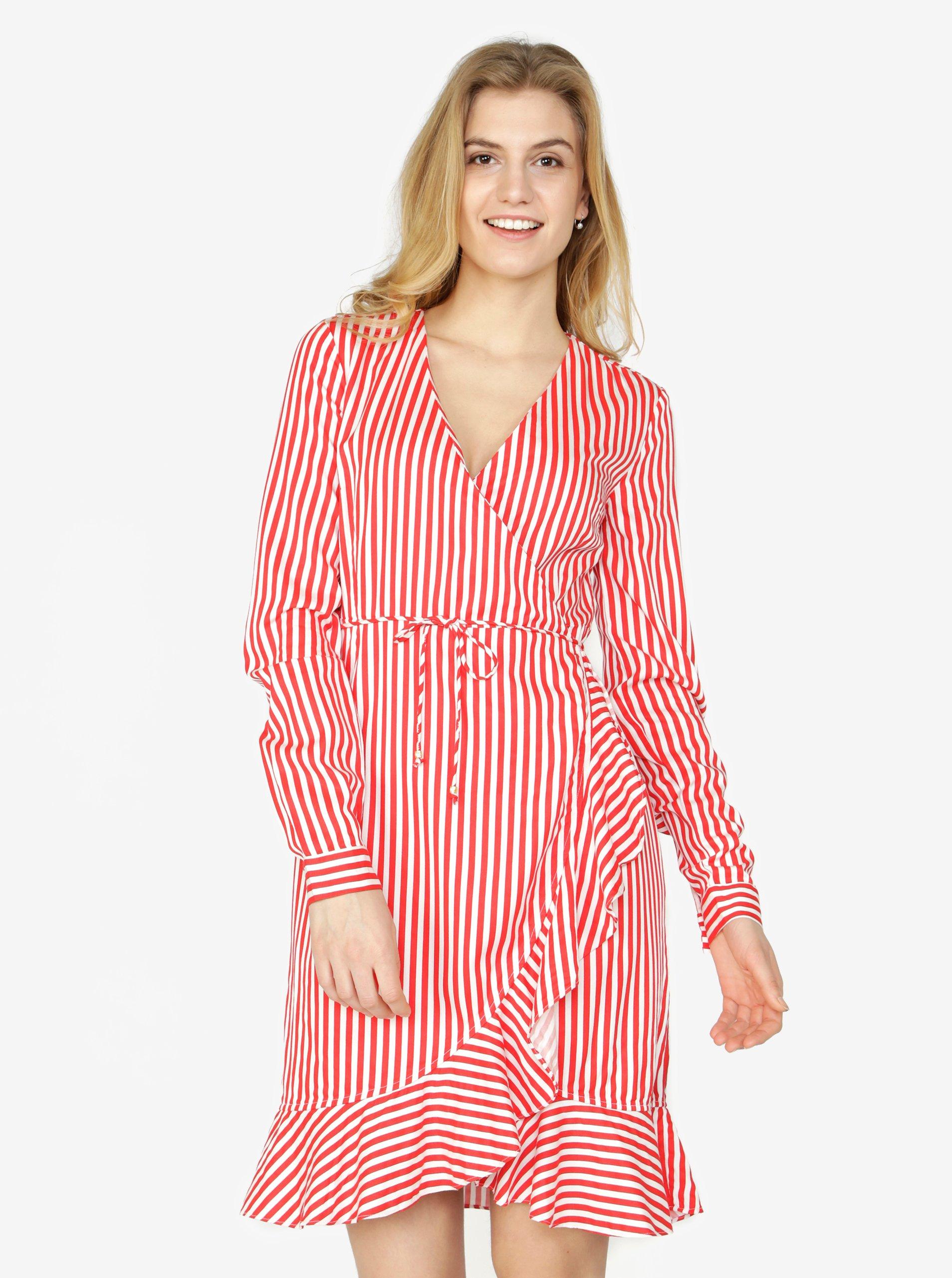 Červeno-biele pruhované zavinovacie šaty s volánom VERO MODA Lizette ... 5446091fc86