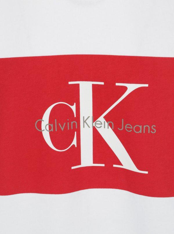 Biela pánska mikina s potlačou v červenej farbe Calvin Klein Jeans Hotoro