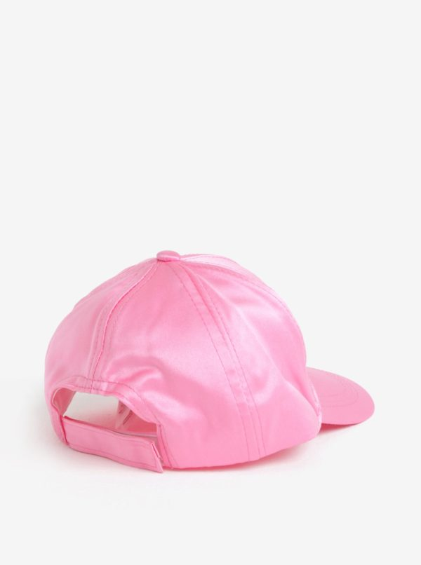 Ružová dievčenská lesklá šiltovka s výšivkou name it Sanna