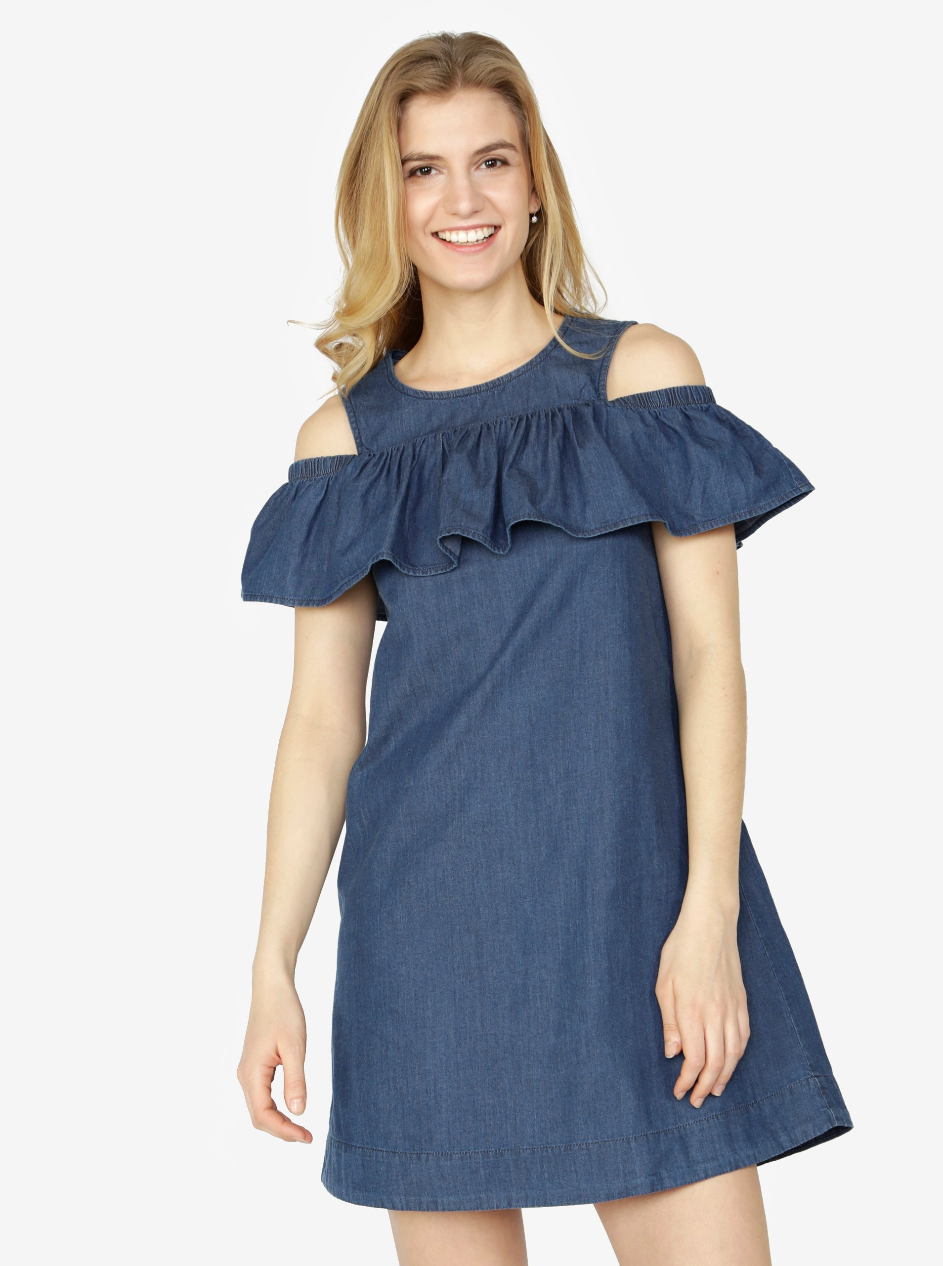 08d1cd4a38a7 Tmavomodré rifľové šaty s prestrihmi na ramenách a volánom VERO MODA Samba