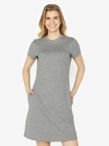 Sivé melírované šaty s krátkym rukávom Calvin Klein Jeans Disosa