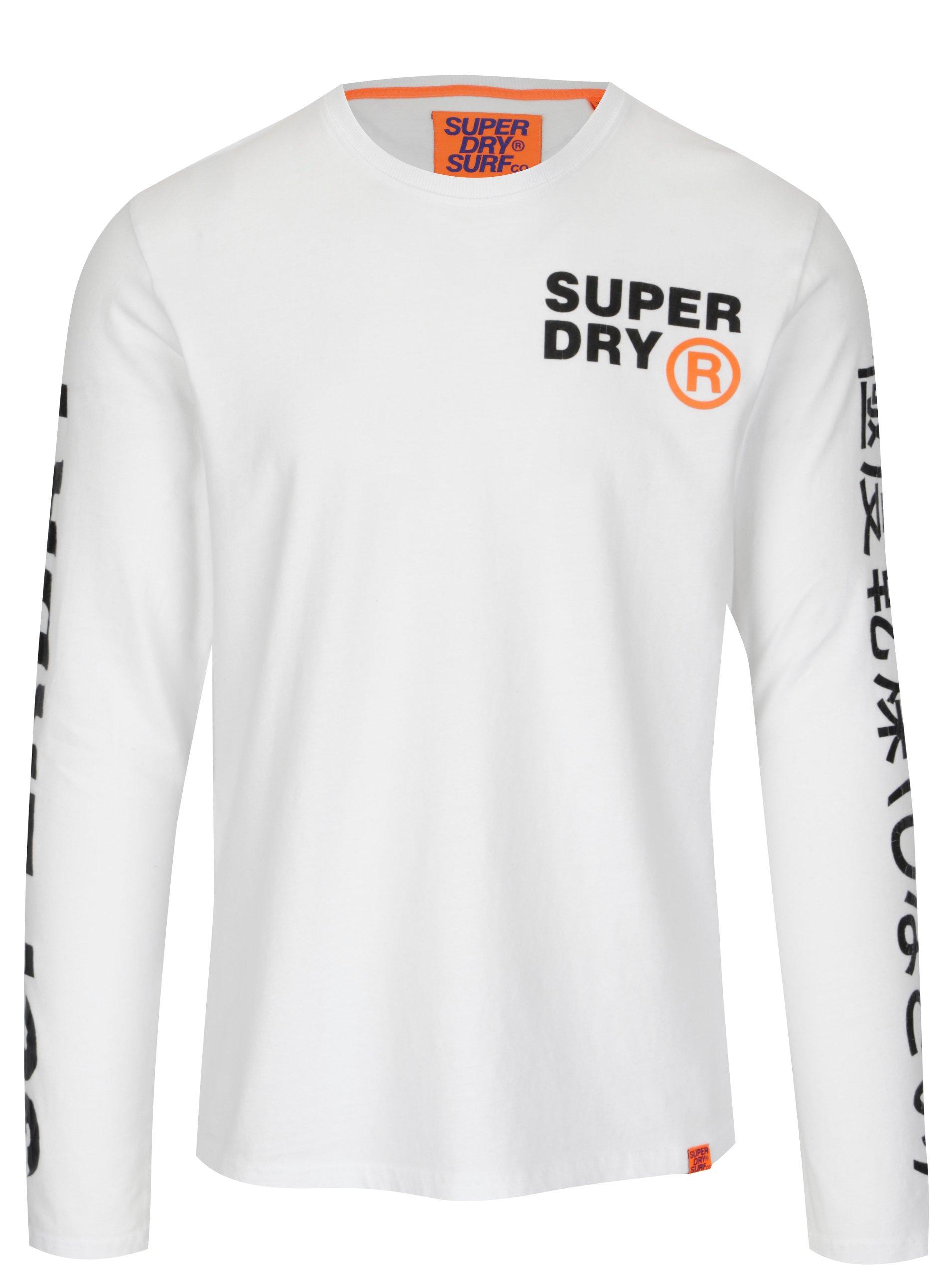2c3c7fa5a153 Biele pánske tričko s dlhým rukávom Superdry