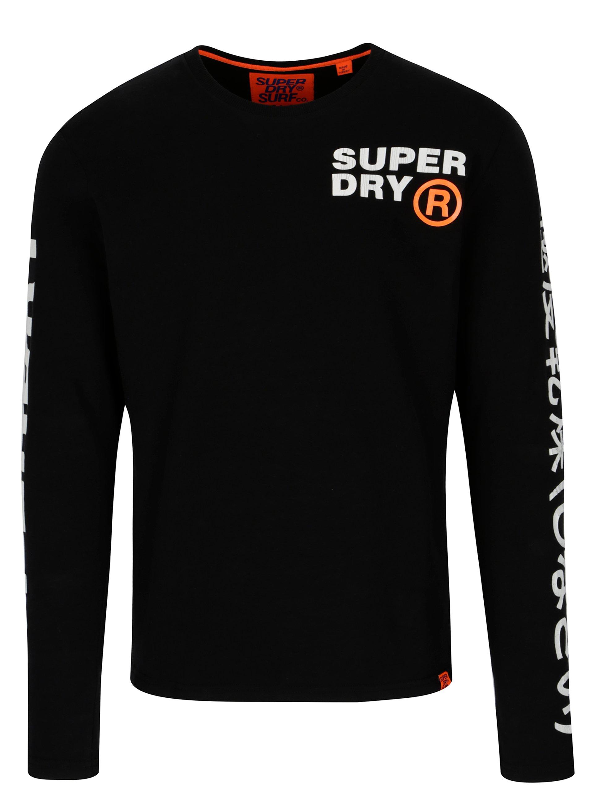 a66ba0604782 Čierne pánske tričko s dlhým rukávom Superdry