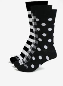 Súprava troch párov unisex ponožiek v bielo-čiernej farbe v darčekovej krabičke Fusakle