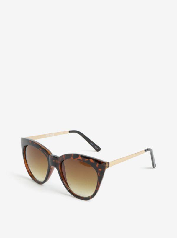 Hnedé vzorované slnečné okuliare Pieces Ginna