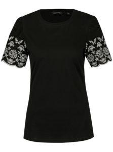 Čierne tričko s výšivkou na rukávoch Dorothy Perkins