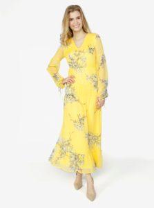 Žlté kvetované maxišaty s dlhým rukávom VERO MODA Satina