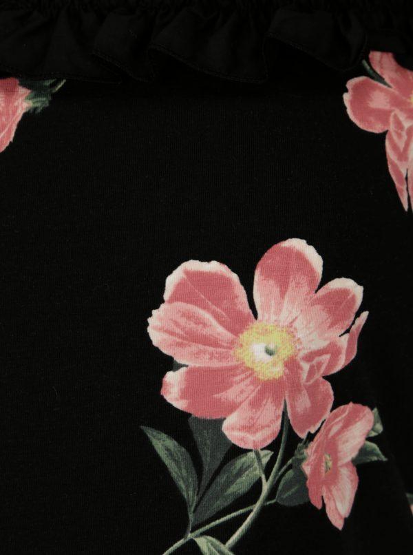 Čierne kvetované tehotenské tričko Dorothy Perkins Maternity