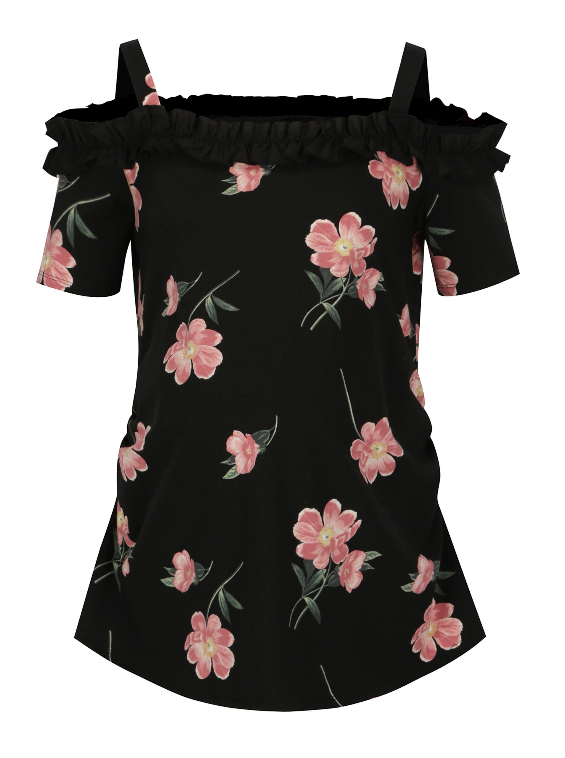 3ab0dc6bfc87 Čierne kvetované tehotenské tričko Dorothy Perkins Maternity
