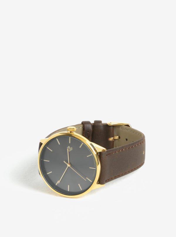 Unisex hodinky v zlatej farbe s hnedým remienkom z vegánskej kože Cheapo Khorshid Gold